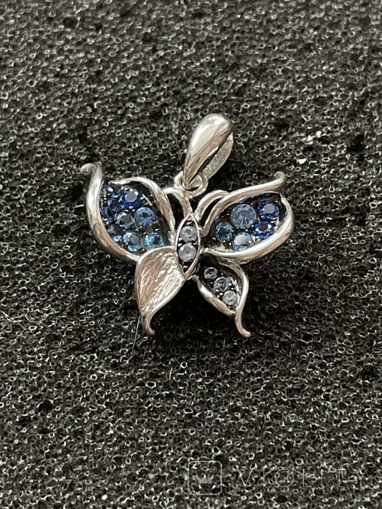 Серебряная подвеска в виде бабочки, фото №2