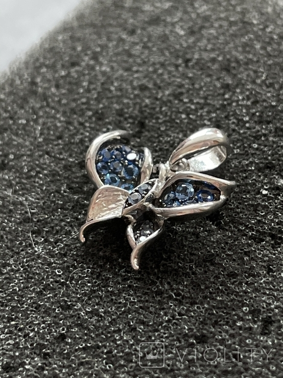Серебряная подвеска в виде бабочки, фото №3