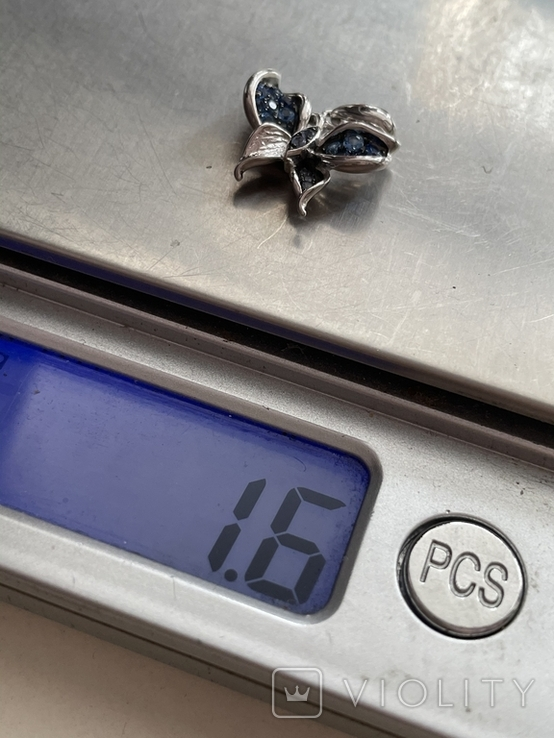 Серебряная подвеска в виде бабочки, фото №5