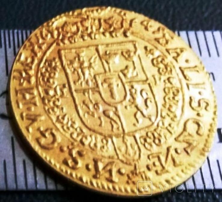 1 дукат  золотом1649  року , Польща ,  копія золотої не магнітний, позолота 999, фото №3