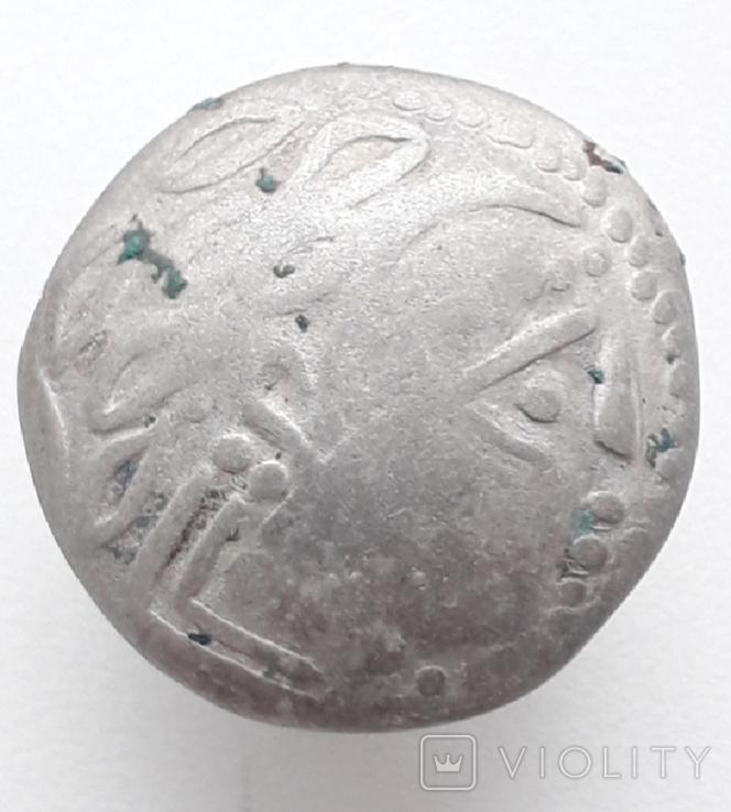 Кельтское подражание тетрадрахме Филиппа II Македонского серебро.