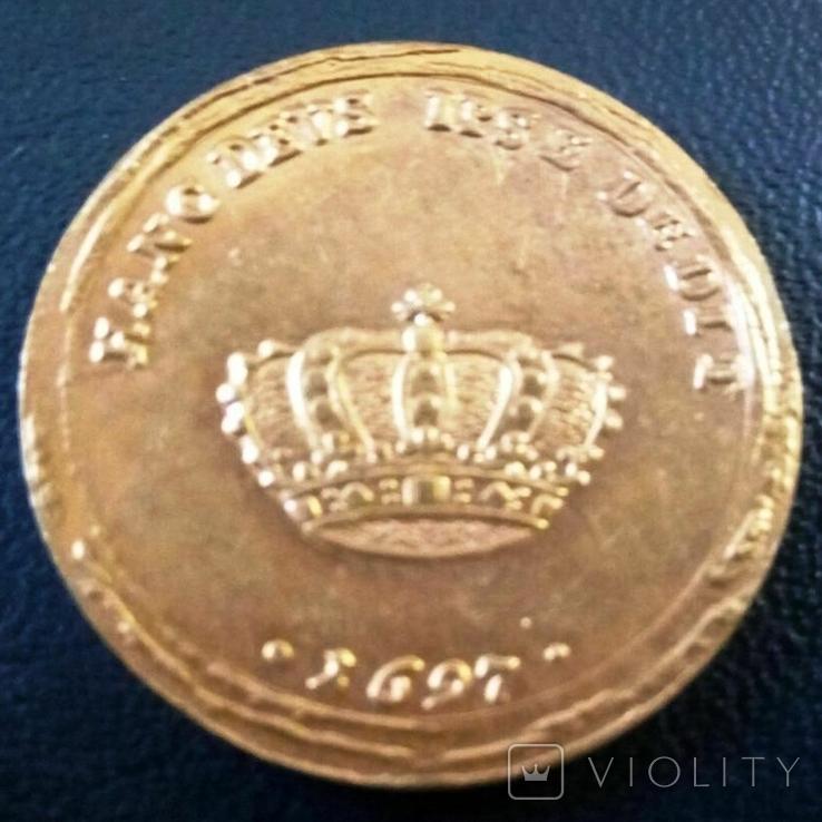 2 дуката  золотом1697  року , Польща ,  копія золотої не магнітний,   позолота 999, фото №3