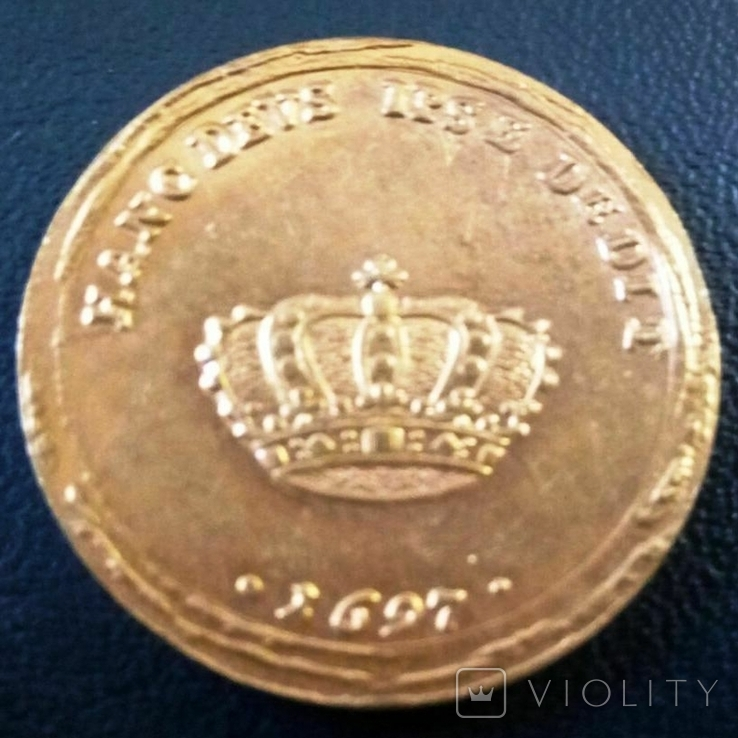2 дуката  золотом1697  року , Польща,  копія золотої не магнітний,   позолота 999, фото №2