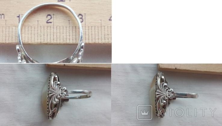 3014 набор гарнитур кольцо серьги сережки ссср серебро 875 натуральный камень клеймо урал, фото №7