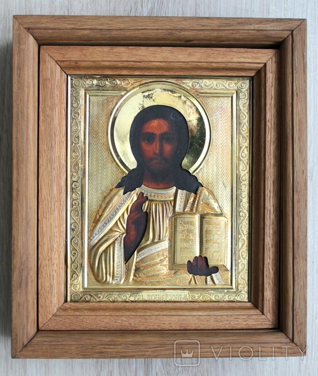 Икона Господь Вседержитель в серебряном окладе 84й пробы