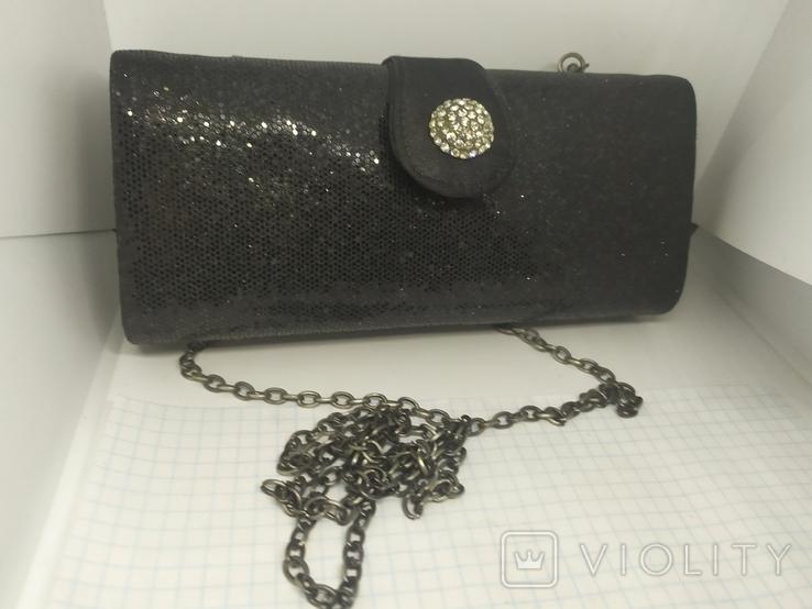 Вечерняя сумочка клатч на длинной цепочке. Accessorize. 17,5х4х8,5см, фото №2