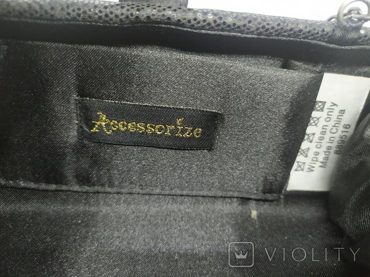 Вечерняя сумочка клатч на длинной цепочке. Accessorize. 17,5х4х8,5см, фото №10