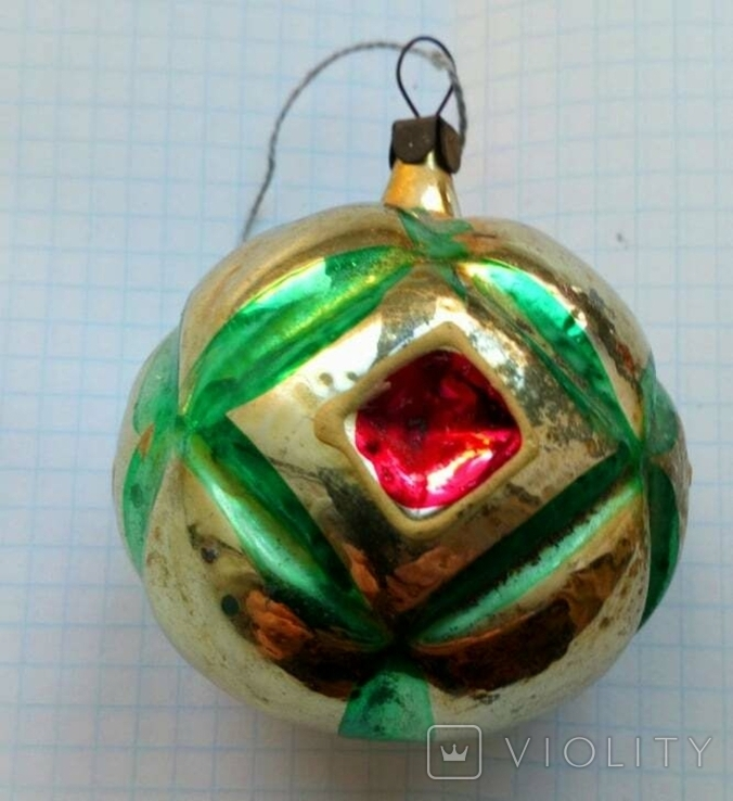 Елочная игрушка Шар с узором СССР, фото №4