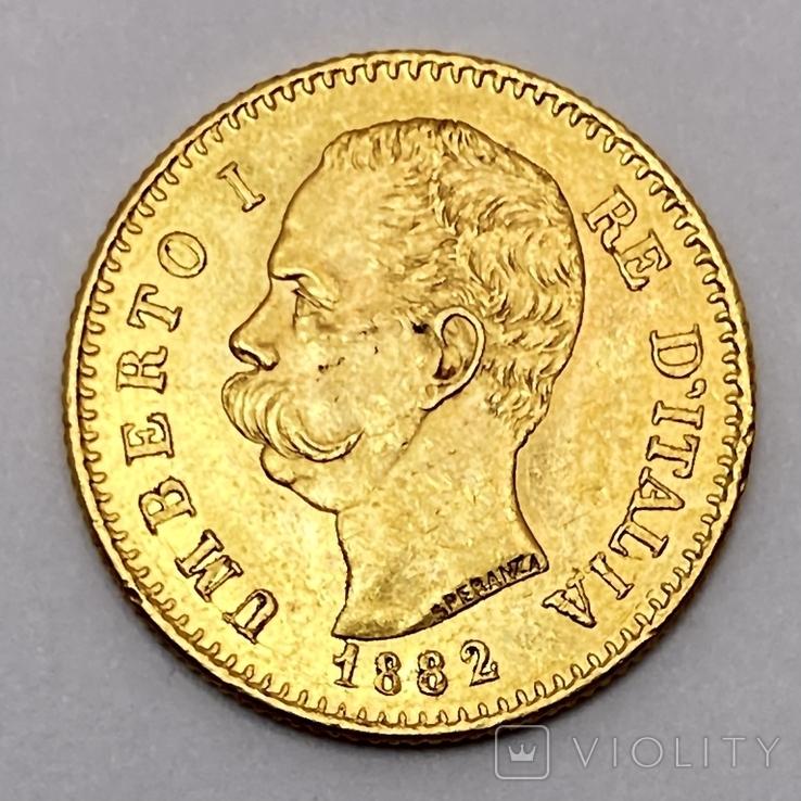 20 лир. 1882. Умберто I. Италия. (золото 900, вес 6,47 г), фото №3
