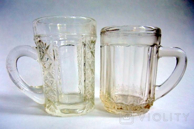 Кружечки - бокальчики старинные литое стекло. Предположительно Мальцевское стекло., фото №2