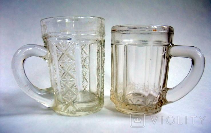 Кружечки - бокальчики старинные литое стекло. Предположительно Мальцевское стекло., фото №3