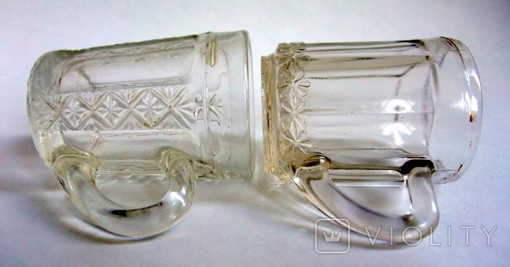 Кружечки - бокальчики старинные литое стекло. Предположительно Мальцевское стекло., фото №7