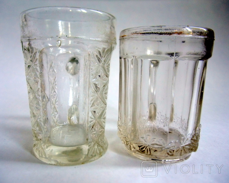 Кружечки - бокальчики старинные литое стекло. Предположительно Мальцевское стекло., фото №8