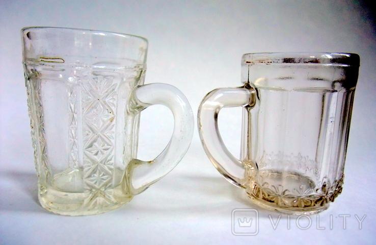 Кружечки - бокальчики старинные литое стекло. Предположительно Мальцевское стекло., фото №11