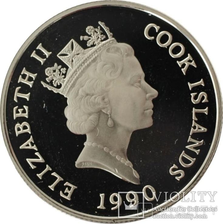Острова Кука 10 долларов 1990 бег,Олимпийские игры, Барселона 1992,серебро,С13, фото №2