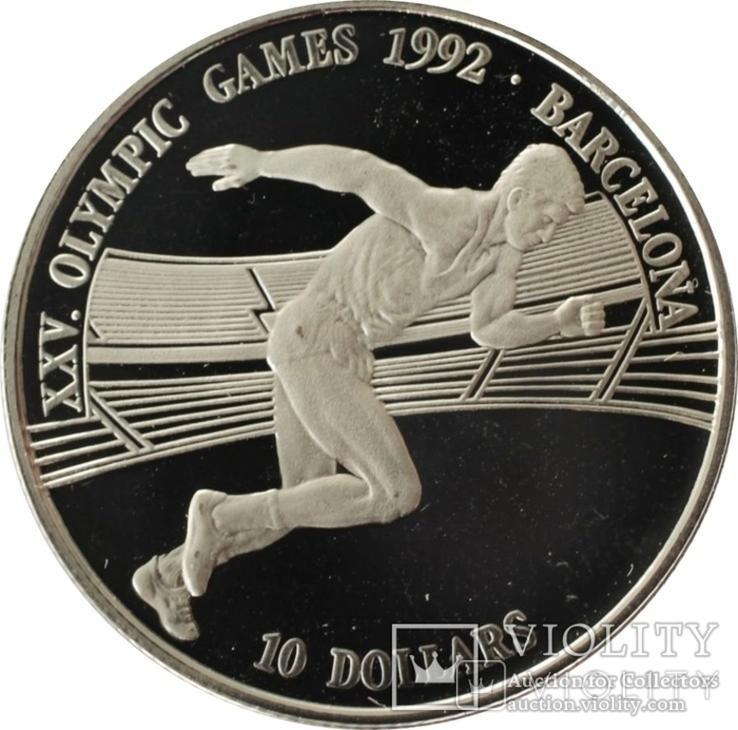 Острова Кука 10 долларов 1990 бег,Олимпийские игры, Барселона 1992,серебро,С13, фото №3