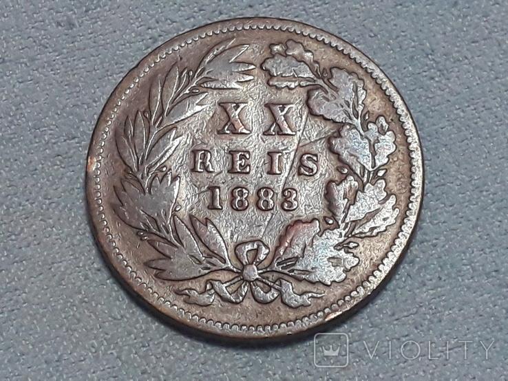 Португалия 20 реалов 1883 года, фото №2