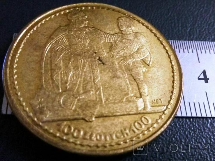 100 злотих золотом 1925 року , Польща , копія золотої  позолота 999, фото №2