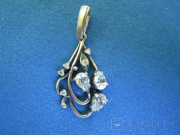Кулон серебро и цирконии., фото №2