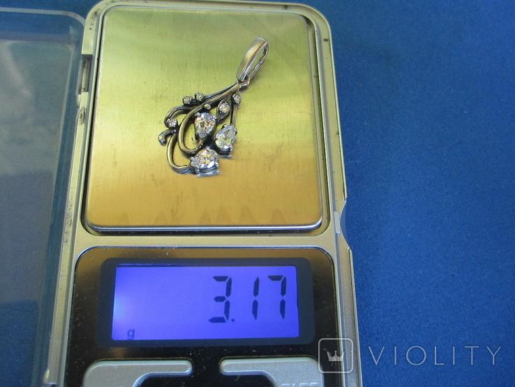 Кулон серебро и цирконии., фото №7