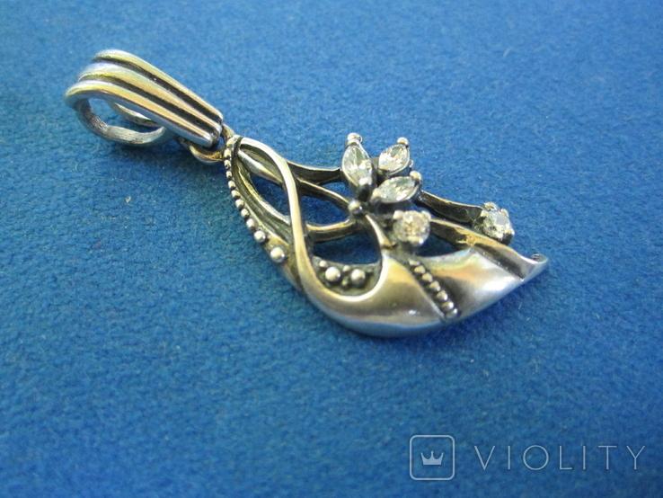Кулон серебро и цирконии., фото №4