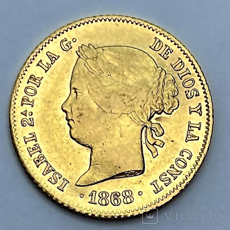 4 песо. 1868. Изабелла II. Филиппины. (золото 875, вес 6,77 г)
