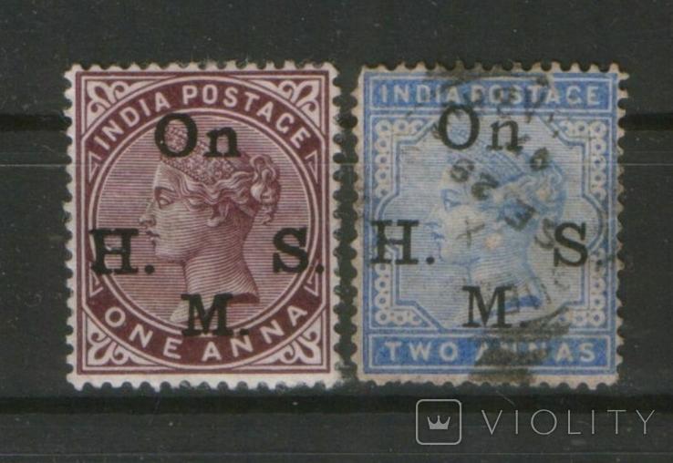 1882-90 Брит. колонии. Индия Королева Виктория, лот 2 шт.