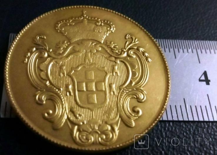 Монета Португалії 1804 року -точна копія Золотої /позолота 999/ не магнітна, фото №2