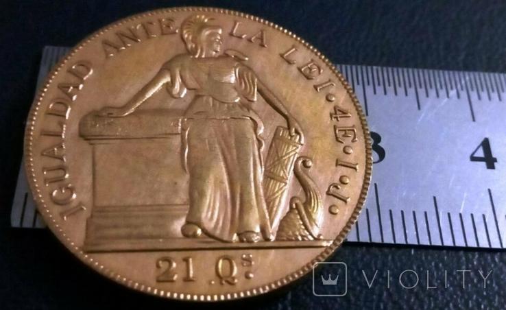 Монета Чилі 1841року- точна копія Золотої /позолота 999/ не магнітна, фото №2