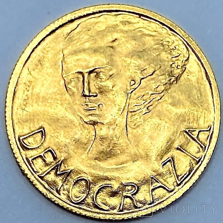 2 скуди. 1977. Демократия. Сан-Марино. (золото 917, вес 6 г), фото №2