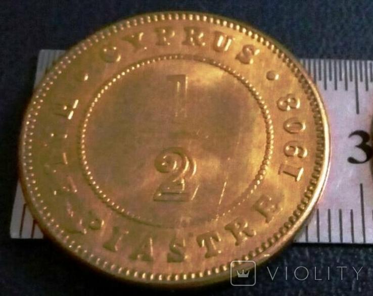 1/2 піастра золотом  1908 року - Британські Кіпрські острови /позолота 999/  копія золотої, фото №4