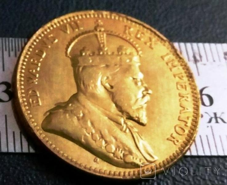 1/2 піастра золотом  1908 року - Британські Кіпрські острови /позолота 999/  копія золотої, фото №2