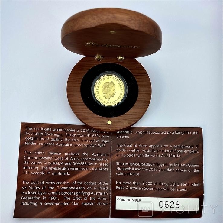 25 долларов - Соверен. 2010. Австралия. Пруф. (золото 917, вес 7,9881 г), фото №6
