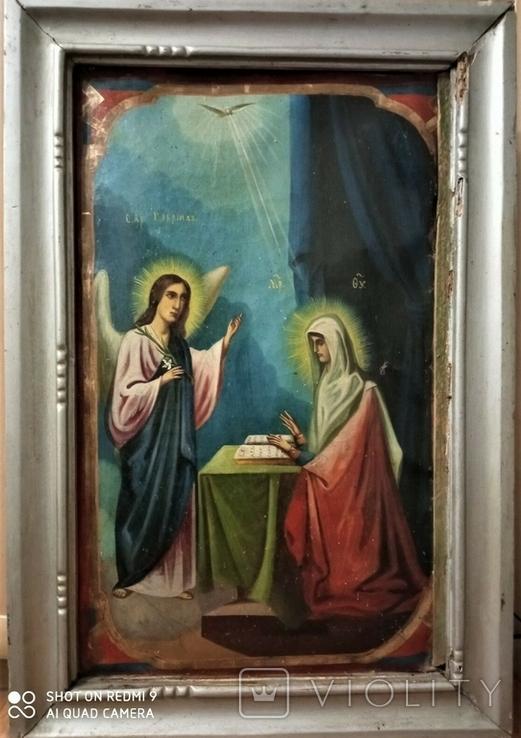 Икона Св.Ах.Гавриил и Матерь Божья. Холст.Размер 750х500 мм, фото №4