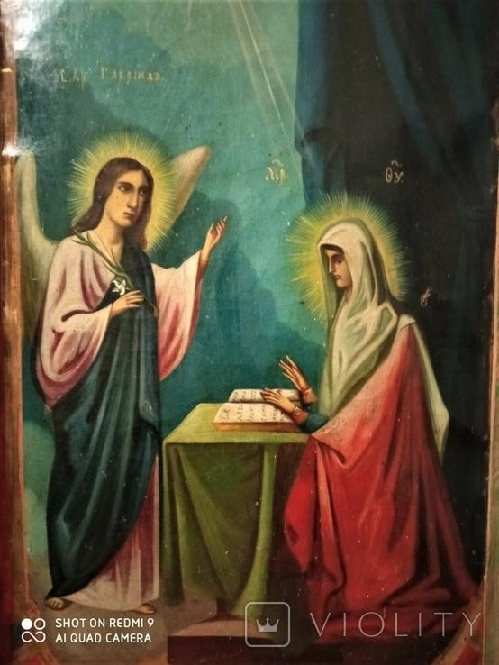 Икона Св.Ах.Гавриил и Матерь Божья. Холст.Размер 750х500 мм, фото №5