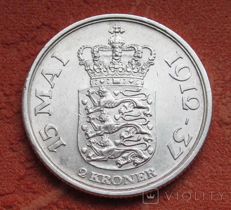 2 кроны 1937 г. Дания, серебро, фото №8