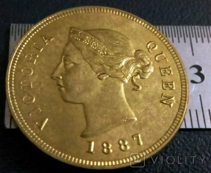 1/2 піастра золотом 1887 рок - Британські Кіпрські острови /позолота 999/копія золотої, фото №2