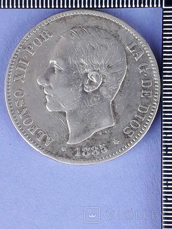 5 песет, Испания, 1885 год (M.S. .M.), серебро 0.900, 25 грамм, фото №2