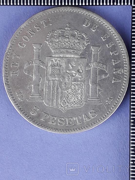 5 песет, Испания, 1885 год (M.S. .M.), серебро 0.900, 25 грамм, фото №3