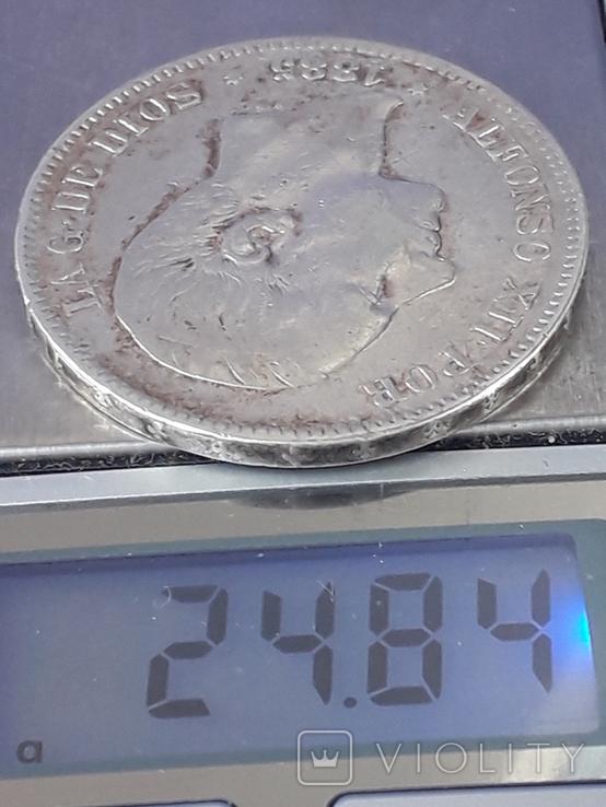5 песет, Испания, 1885 год (M.S. .M.), серебро 0.900, 25 грамм, фото №4