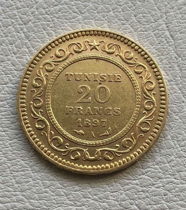 Тунис 20 франков 1897 год 6,45 грамм золота 900`