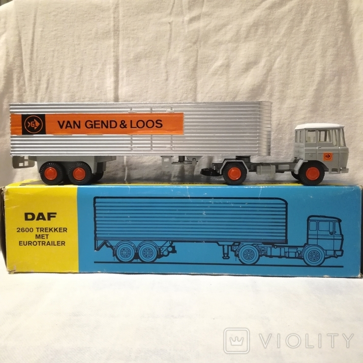 Тягач, грузовик Lion Car 1/50 Scale Nr.36 DAF Trucks 2600 Trekker Eurotrailer, Holland, фото №3