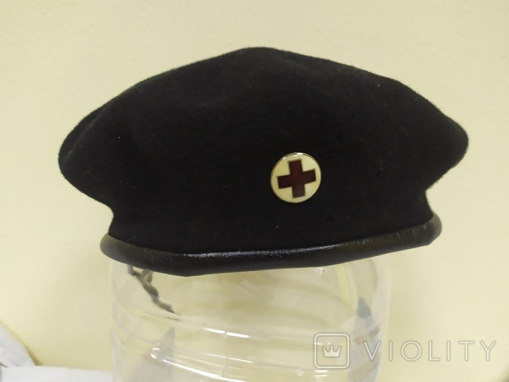 Берет со знаком Красный Крест. Шерсть. 56-57 рр, фото №2