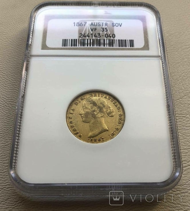 Австралия соверен 1867 год 7,99 грамм золота 917, фото №3