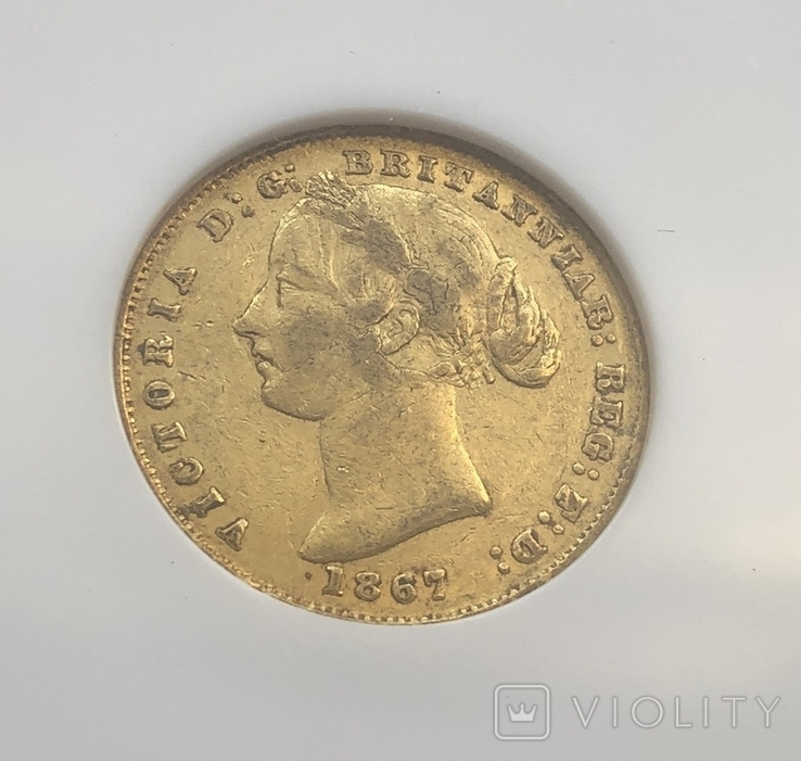 Австралия соверен 1867 год 7,99 грамм золота 917, фото №2