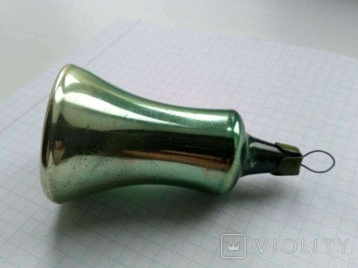 Елочная игрушка Колокольчик зеленый СССР 1959 г., фото №8