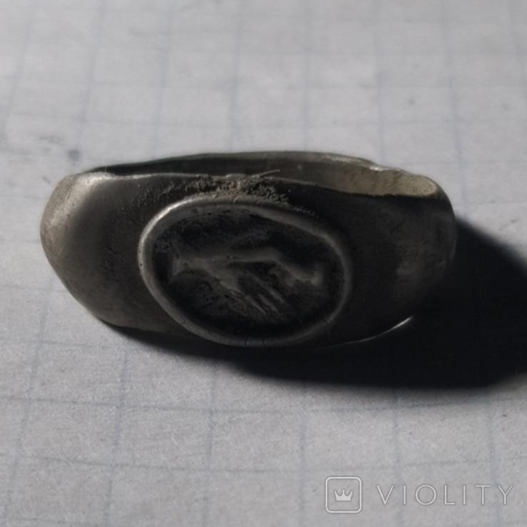 Римский перстень рукопожатие серебро копия, фото №2