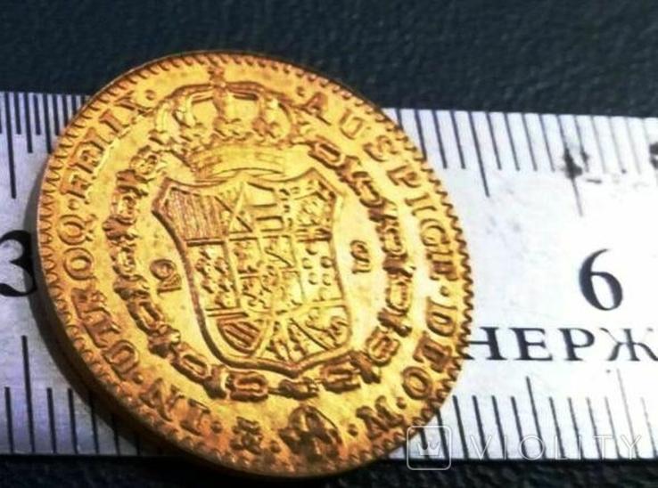 2 ескудо золотом 1788 року Іспанія/позолота 999/ копія не магнітна / дзвенить /, фото №2