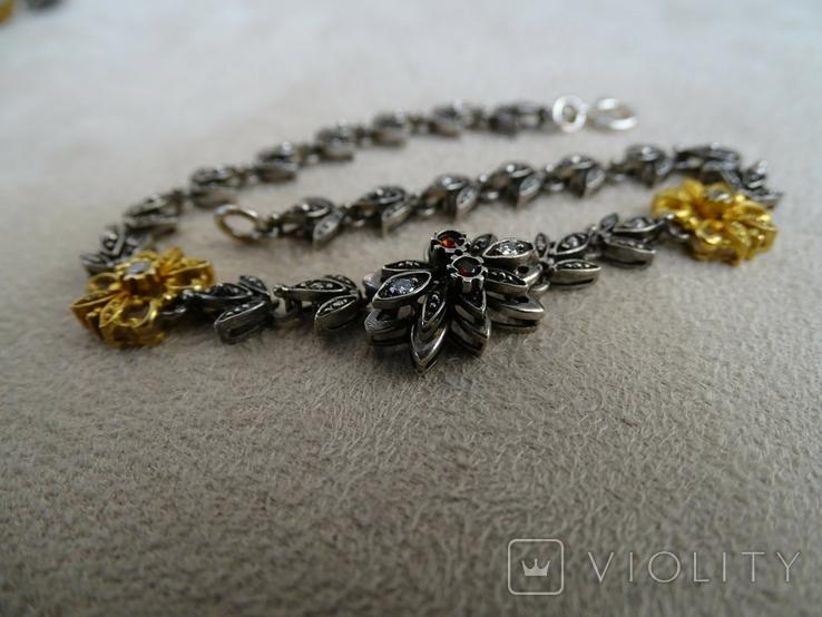 Старенький гарнитур колье, браслет, серьги. Серебро, позолота, камни., фото №6