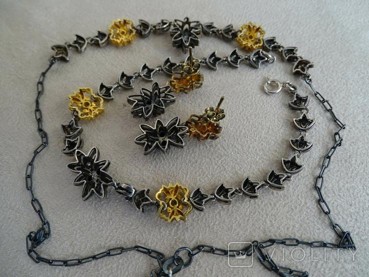 Старенький гарнитур колье, браслет, серьги. Серебро, позолота, камни., фото №8
